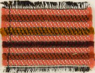 Textile sample in red, black and white