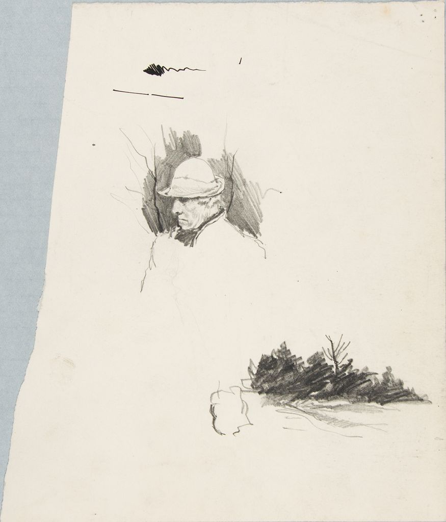 Sketch Of A Man And Sketch Of A Landscape