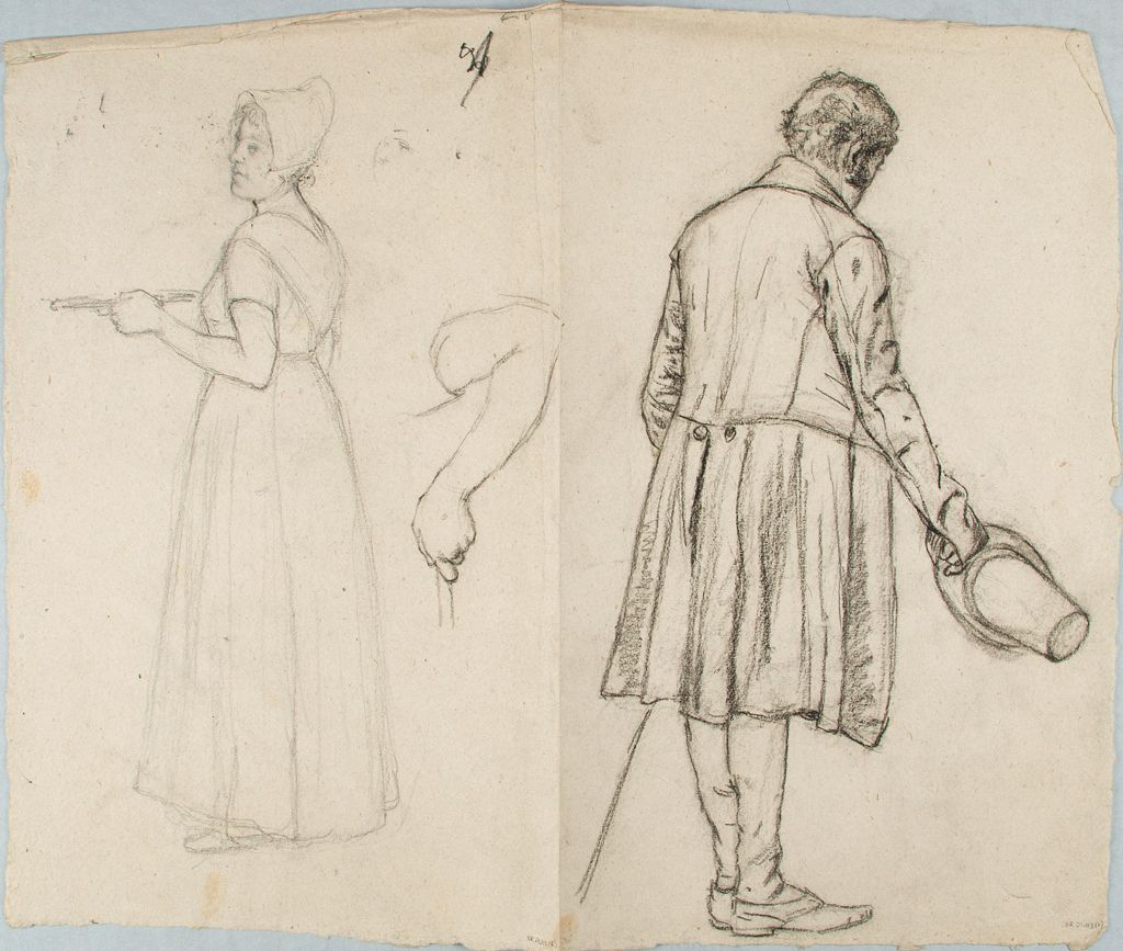 Sketch Of A Woman With A Tray; Verso: Sketch Of A Man With A Hat In His Right Hand