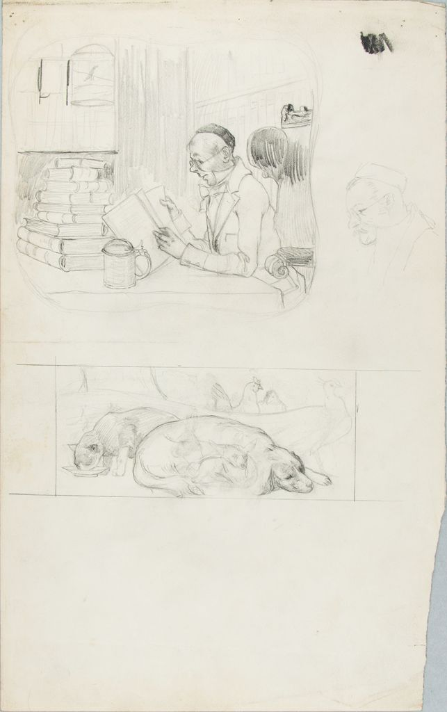 Sketches Of A Reading Man And Of Animals