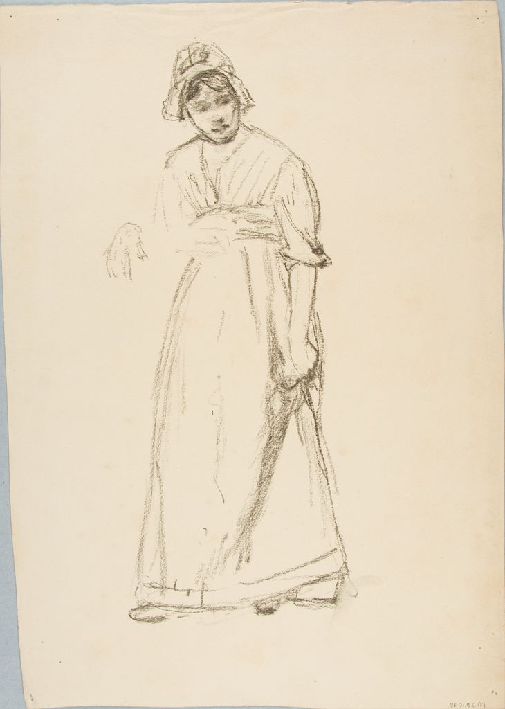 Sketch Of A Standing Woman; Verso: Sketch Of A Human Head