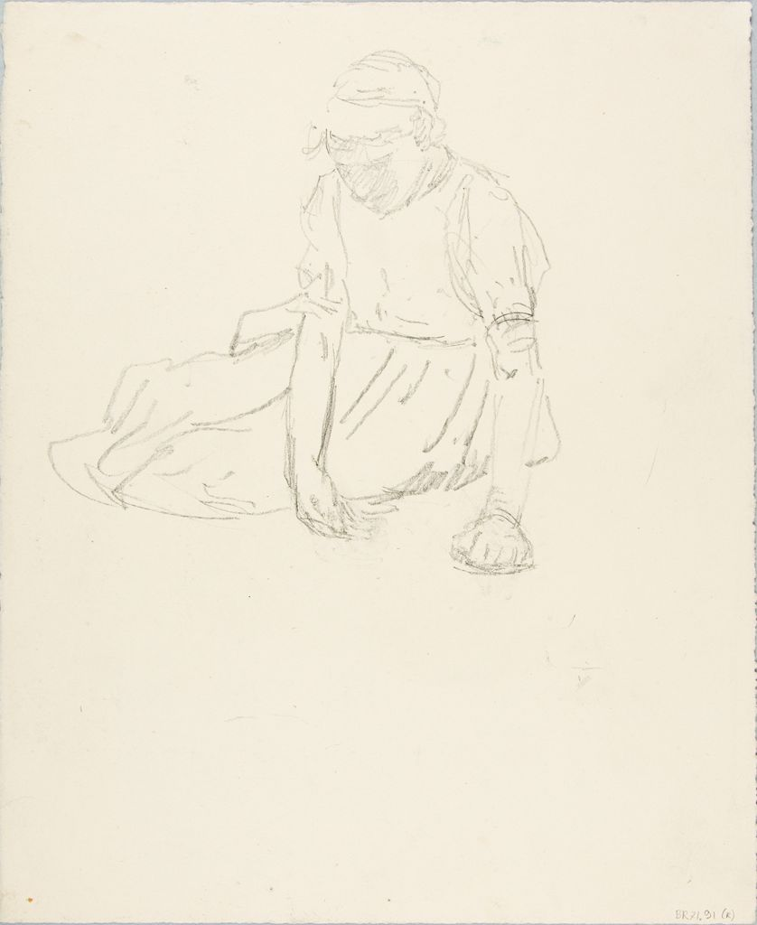 Sketch Of A Seated Woman; Verso: Sketch Of A Human Head