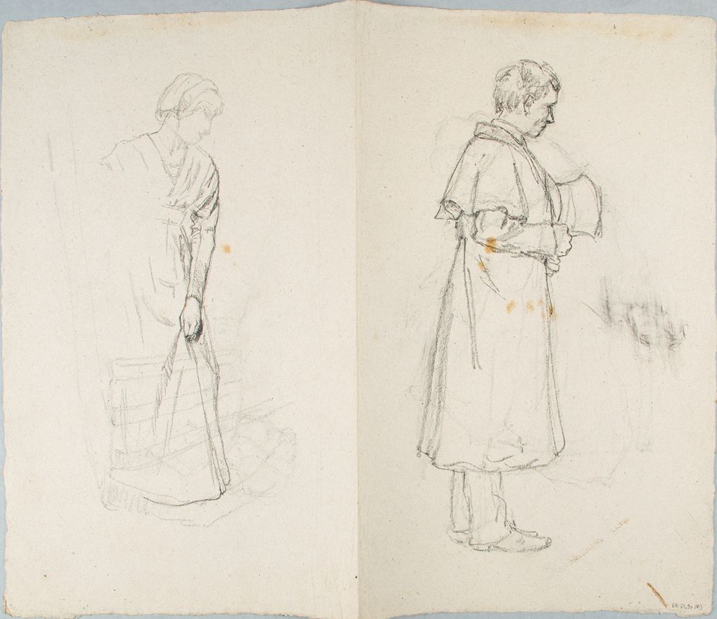 Sketches Of Standing Woman And Man; Verso: Sketch Of A Standing Woman