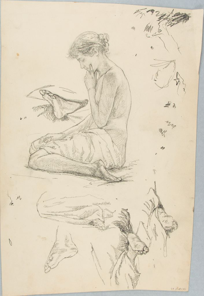 Sketches Of The Human Body; Verso: Sketch Of Drapery