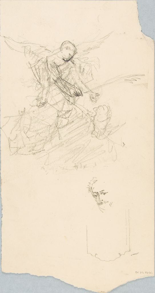 Sketch Of An Angel; Verso: Sketches Of Men`s Heads