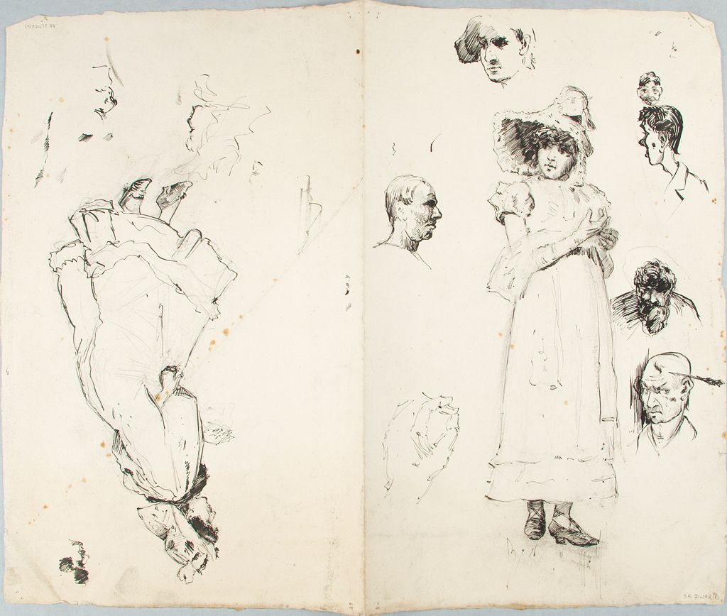Sketch Of A Girl And Caricature Studies; Verso: Sketch Of A Woman And Caricature Studies