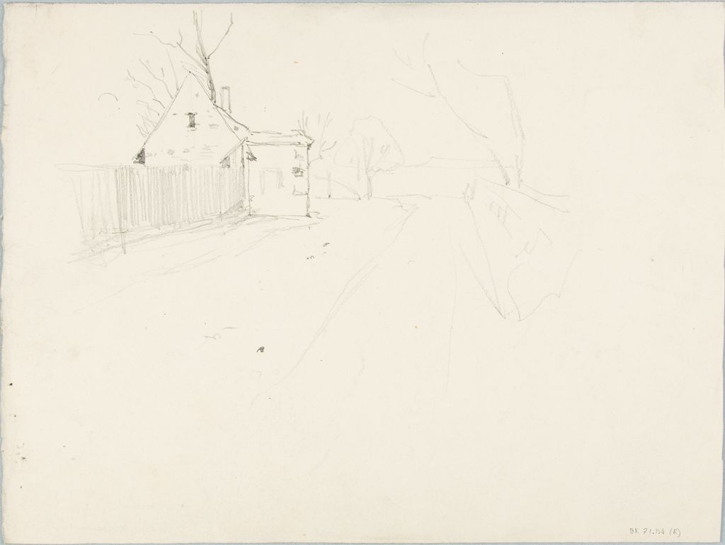 Sketch Of A Road With A Farm; Verso: Sketches Of People And A Horse