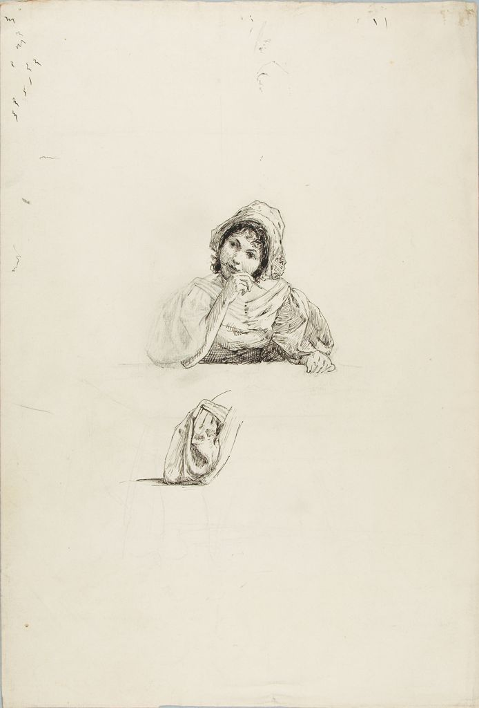 Sketch Of A Woman With A Pen