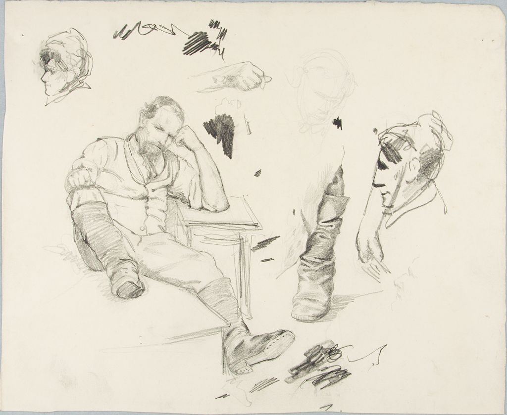 Study Of A Seated Man And Women's Heads