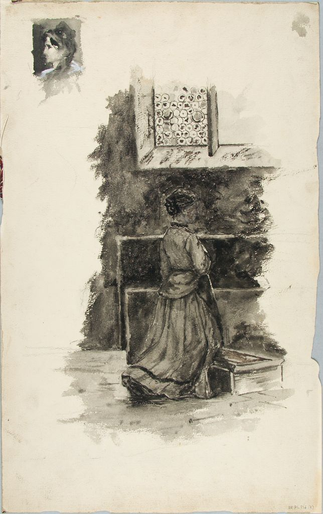 Sketch Of A Praying Woman; Verso: Color Study Of A Landscape ?