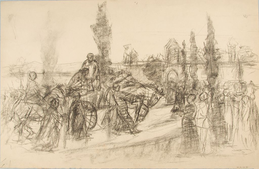 Study Of A Procession Ii; Verso: Study Of Women`s Heads