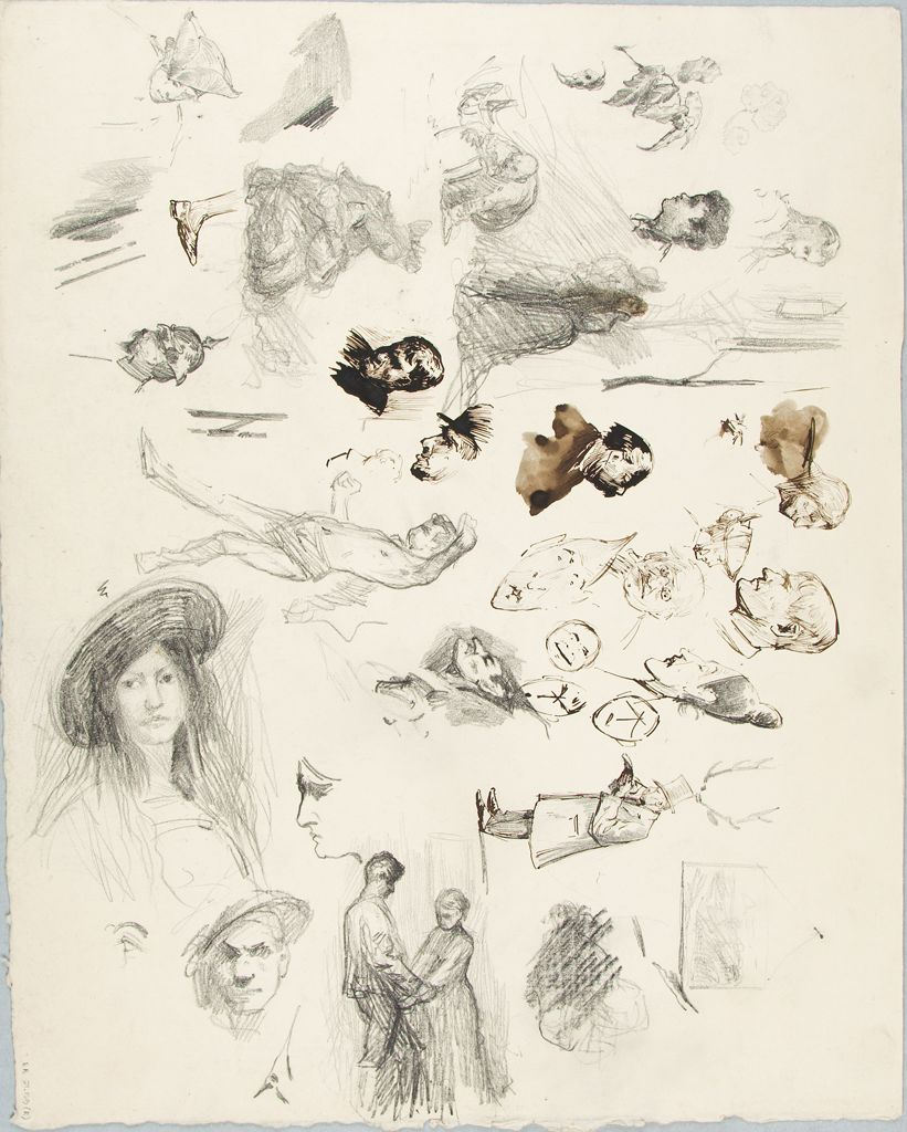 Study Of Heads; Verso: Sketch Of A Landscape?