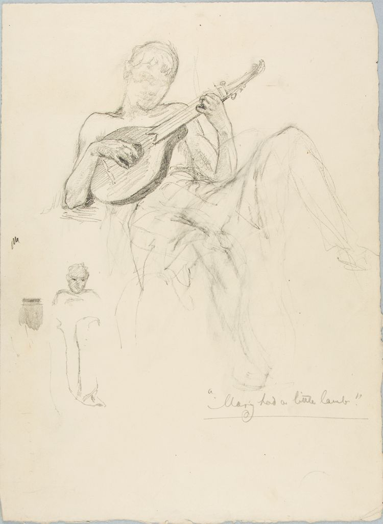 Sketch Of A Man Playing A Lute