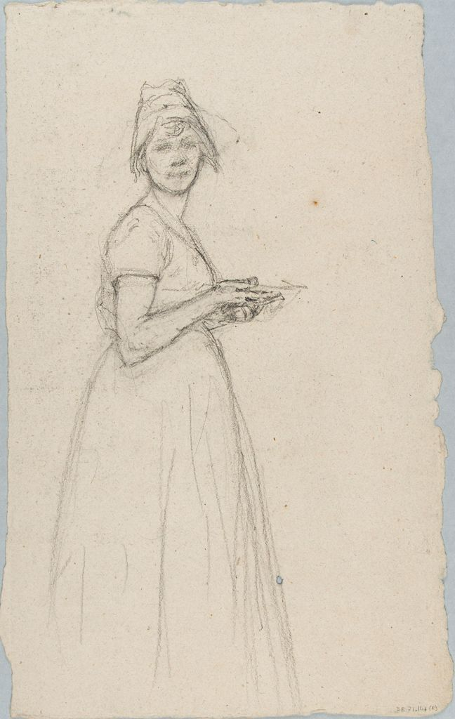 Sketch Of A Woman Holding A Plate; Verso: Sketch Of A Man Holding A Hat