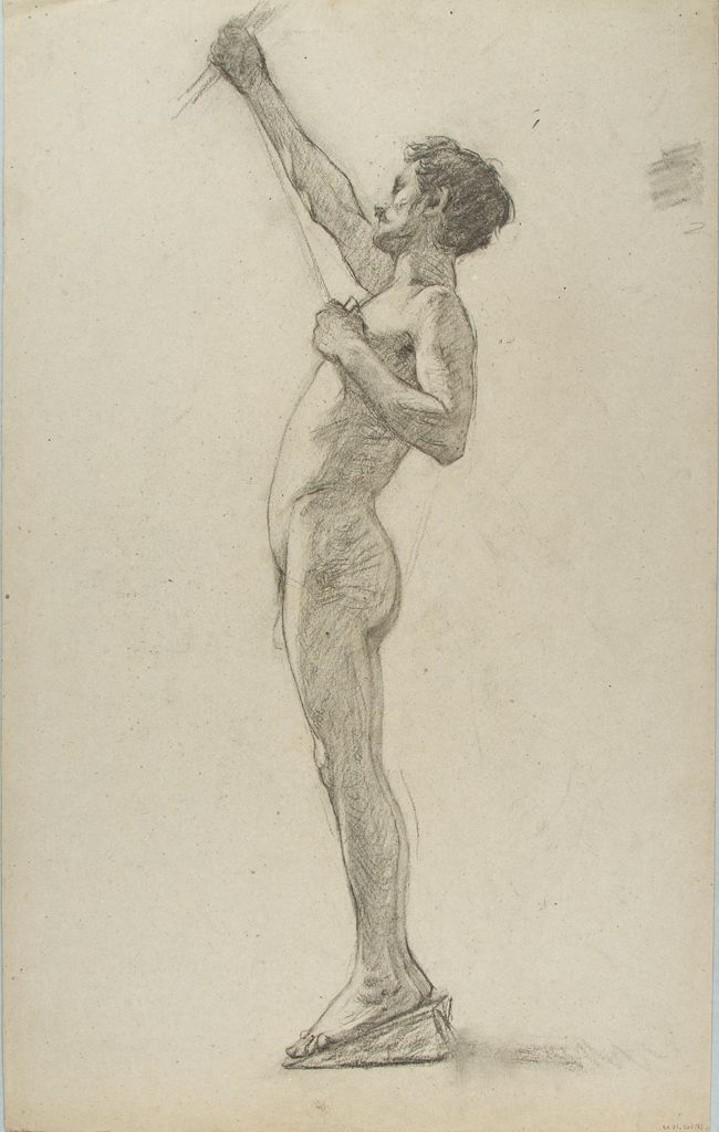 Male Nude Figure Study; Verso: Studies Of Arms