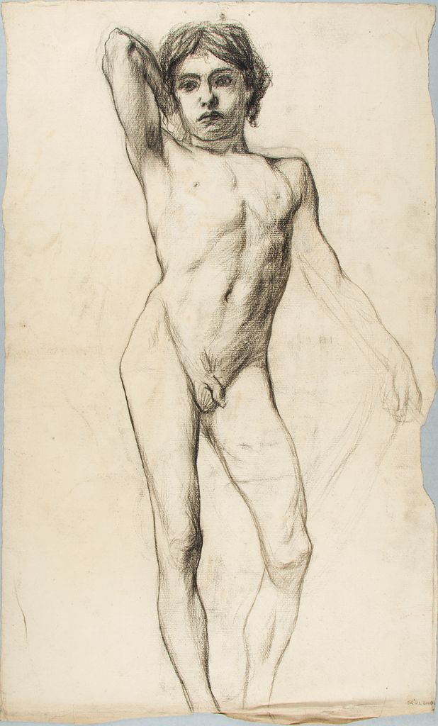 Male Nude Figure Study; Verso: Studies Of Arms And Legs