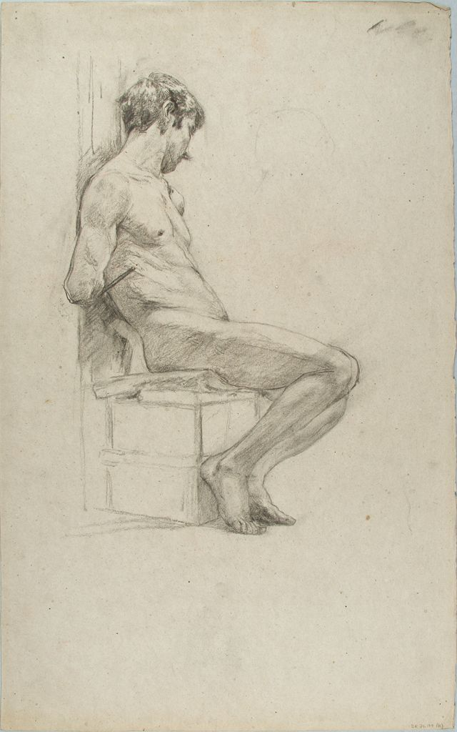 Sketch Of A Seated, Male Nude; Verso: Sketches Of A Seated, Male Nude