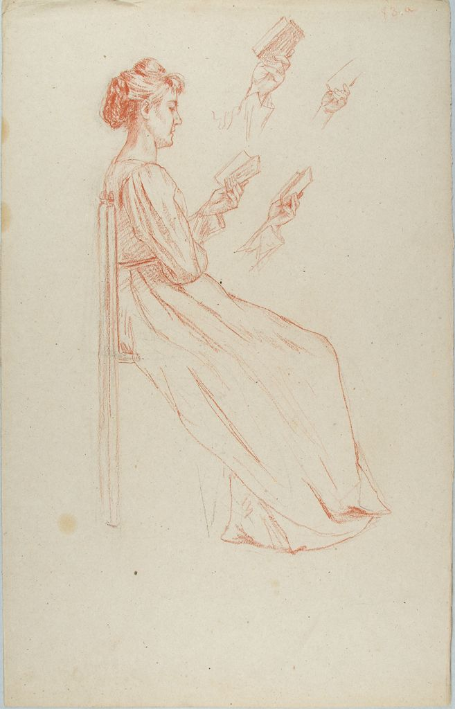 Sketch Of A Woman Reading A Book