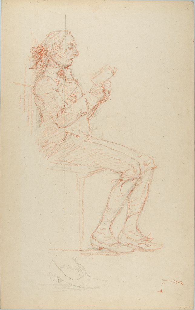 Sketch Of A Seated Man Reading; Verso: Technical Drawing
