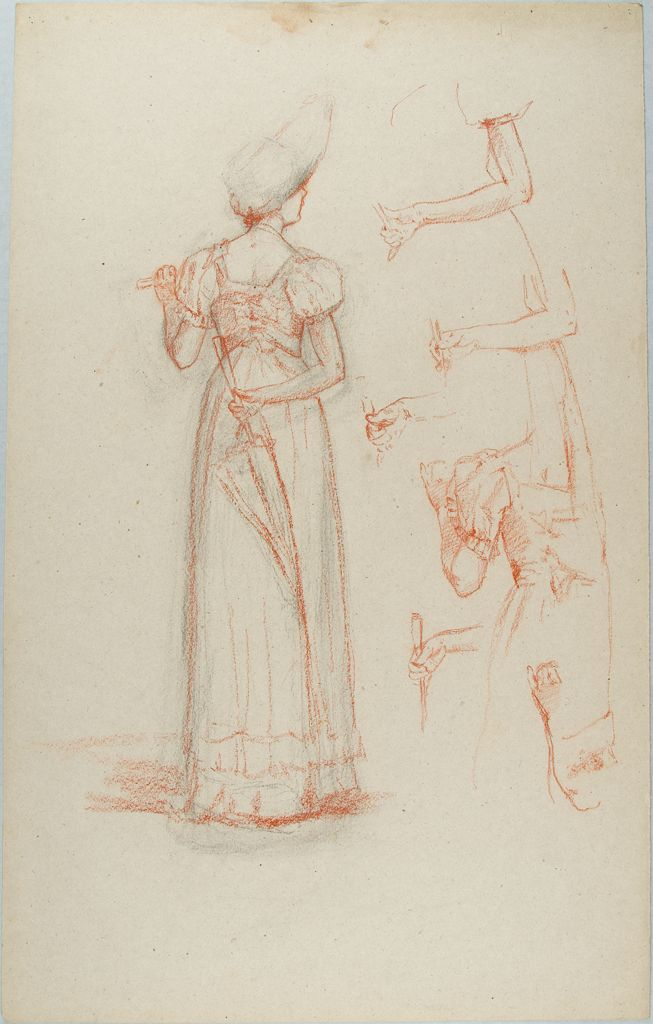 Sketch Of A Woman With An Umbrella And Study Of Arms