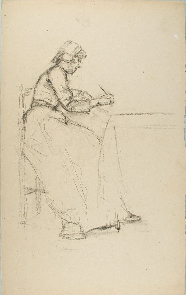 Sketch Of A Seated Woman Writing
