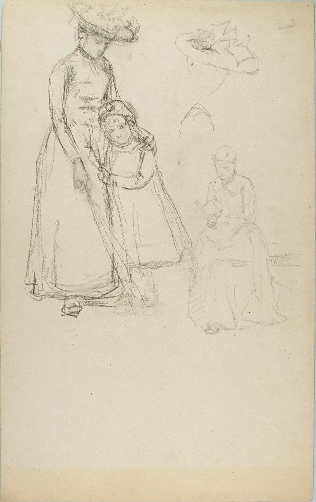 Sketch Of A Seated Woman And Woman And Child