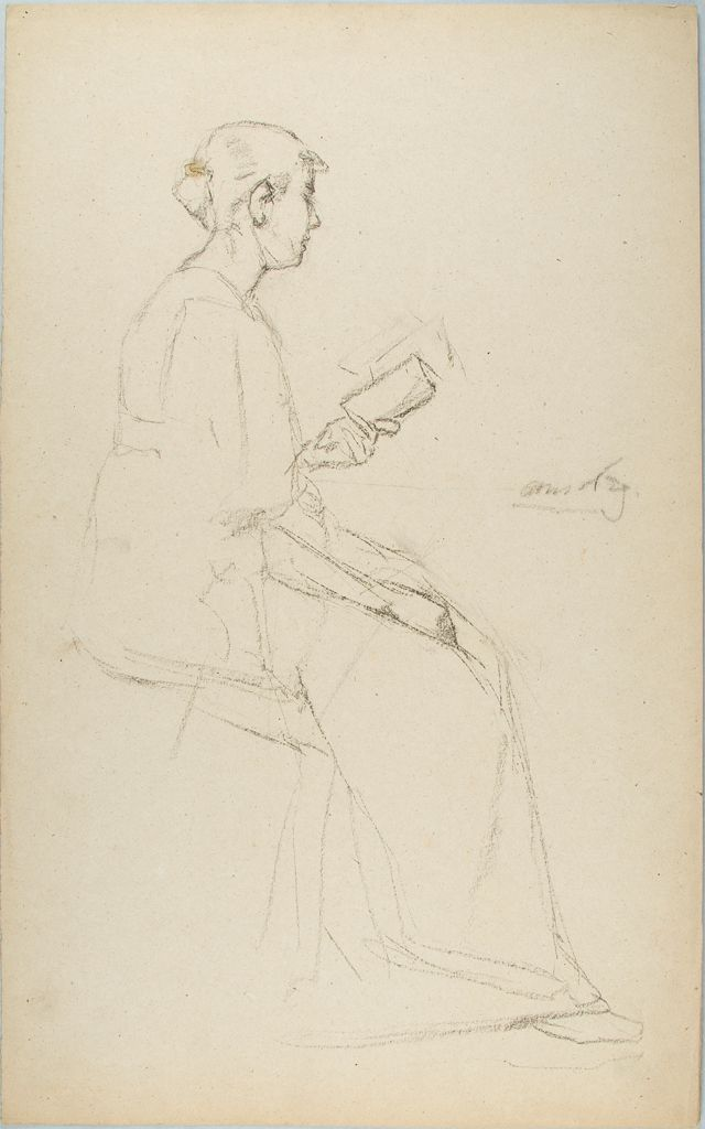 Sketch Of A Seated Woman Reading A Book