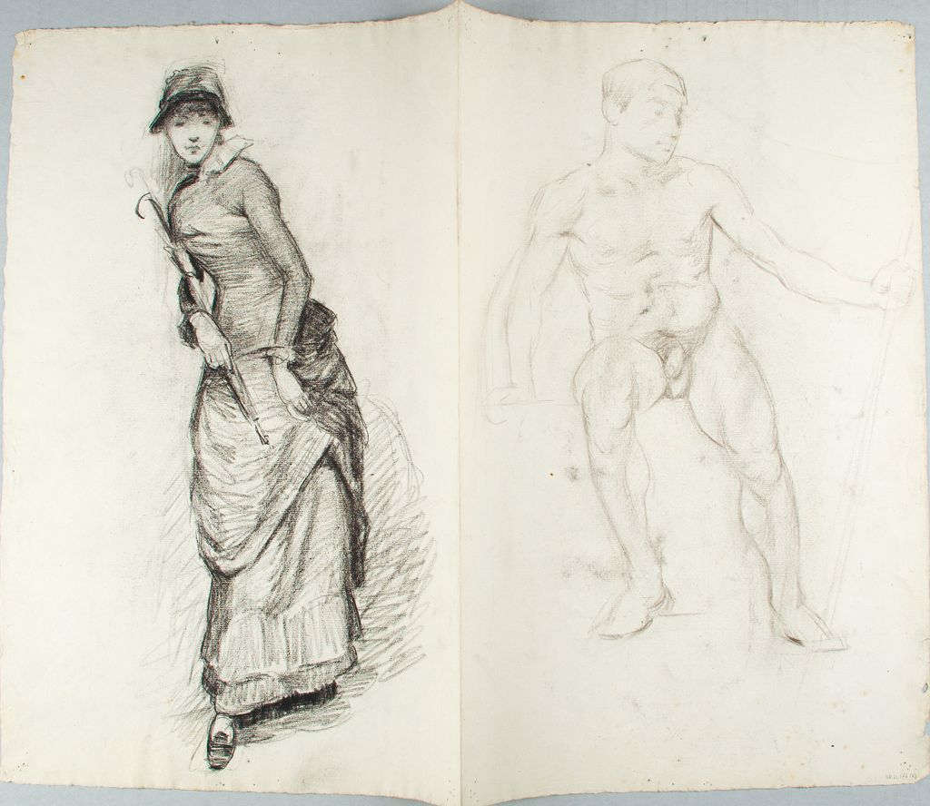 Sketch Of A Seated Male Nude And Standing Woman; Verso: Sketch Of Two Seated Woman