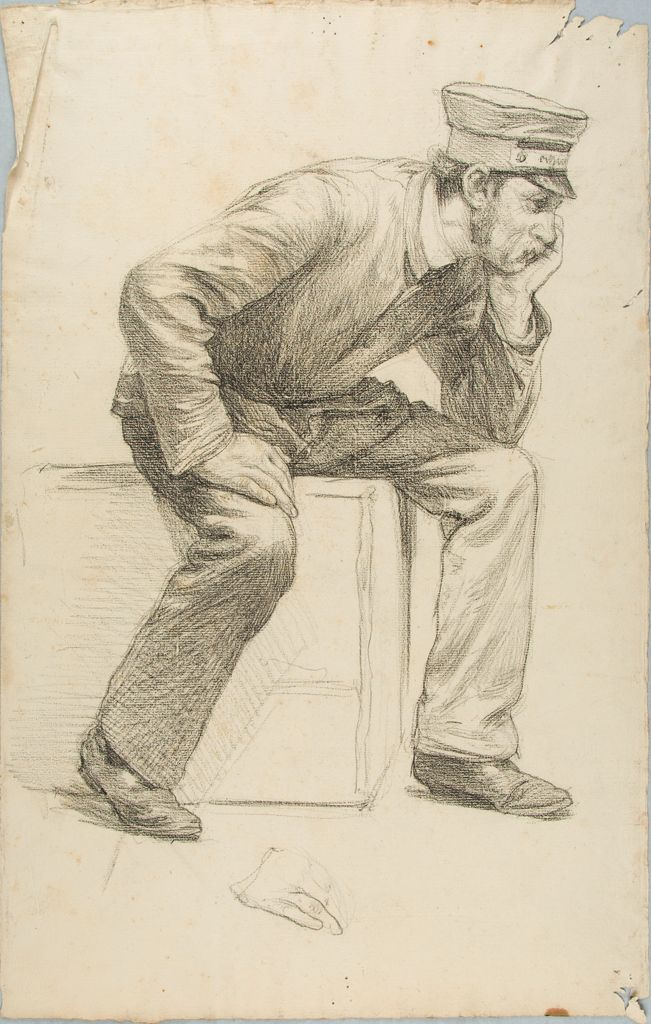 Sketch Of A Seated Man