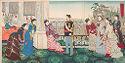 Triptych: Emperor Meiji And His Consort In The Plum Garden