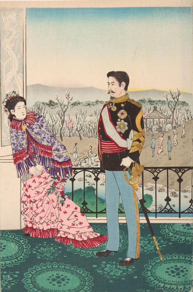 Emperor Meiji And His Consort In The Plum Garden (Miyo Shun'e No Baien)