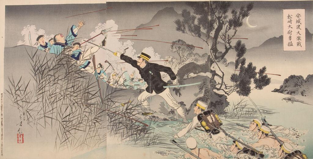 Triptych: Captain Matsuzaki Crossing Anjō Reveals His Great Bravery (Anjō O Watari Daigekisen Matsuzaki Taii Yūmō)