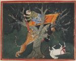 Rao Raja Bhoj Singh of Bundi Batters a Leaping Tiger from a Tree