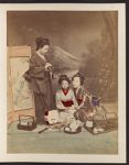 Work 6 of 27 Title: Three Japanese girls, one standing with ... Date: 188-?
