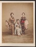 Work 9 of 27 Title: Three Japanese women wearing kimonos, tw... Date: 188-?