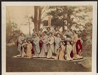 Work 10 of 27 Title: Women performers, possibly dancers, with... Date: 188-?