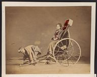 Work 12 of 27 Title: Rickshaw man with rickshaw and woman pas... Date: 187-?
