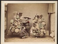 Work 16 of 27 Title: Japanese street vendor selling baskets Creator: Stillfried, Baron Raimund von Date: ca. 1873