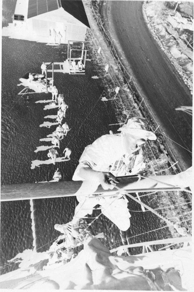 Untitled (Aerial View With Soldiers Rappelling From Tower During Recondo Training, Army Special Forces School, Nha Trang, Vietnam)