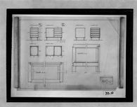 Furniture Designs, 1929-1932: Cabinet: elevations, sections, and details (cancelled) 1:10, 1:1
