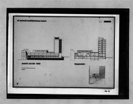 Competition Entry for Dr. Aschrott Community Center, Kassel, 1929-1930: Elevation from Fulda, longitudinal section, and perspective of entrance hall, 1:200