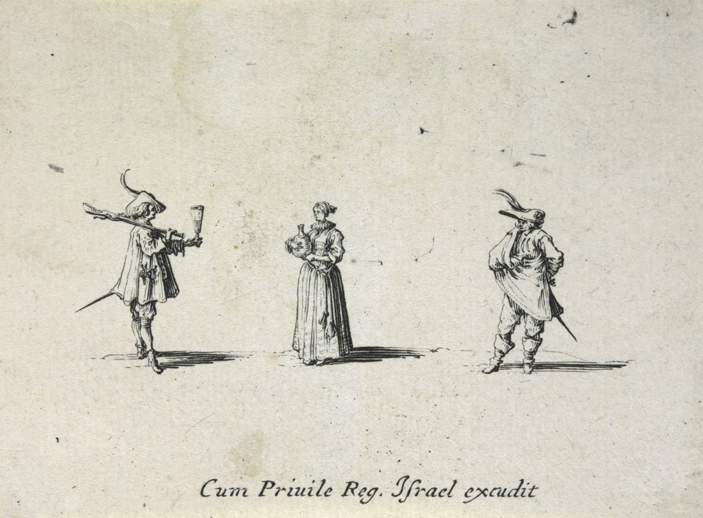 Woman Carrying A Flask Of Wine, Between Two Men