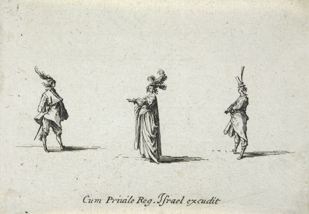 Woman With Three Feathers In Her Hat, Seen In Profile Between Two Men