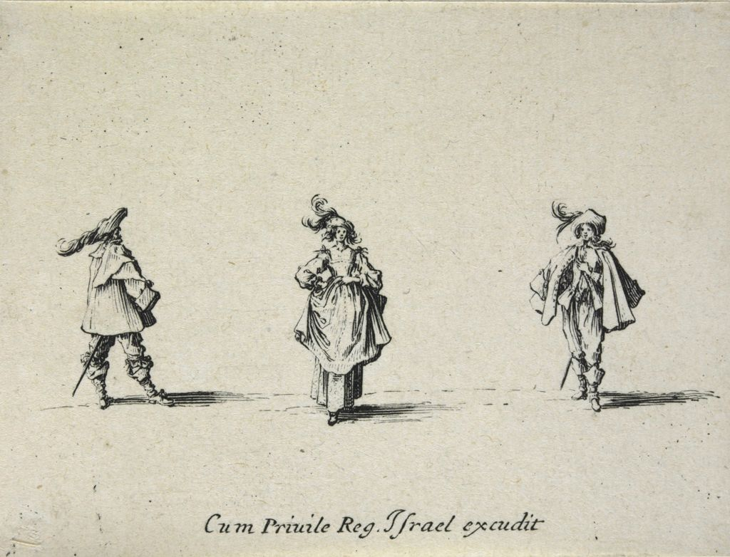 Woman Wearing A Hat With Two Plumes, Her Hands On Her Hips, Between Two Men