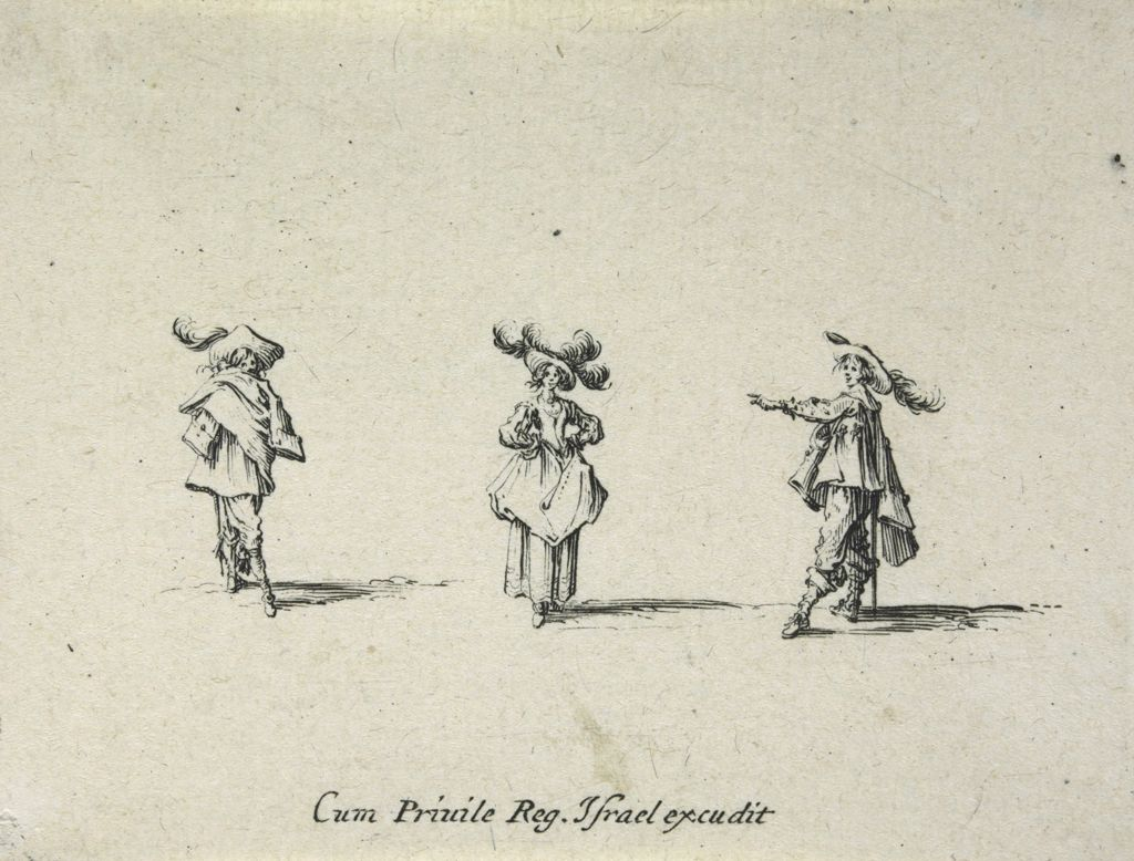 Woman Wearing A Hat With Four Plumes, Her Hands On Her Hips, Between Two Men