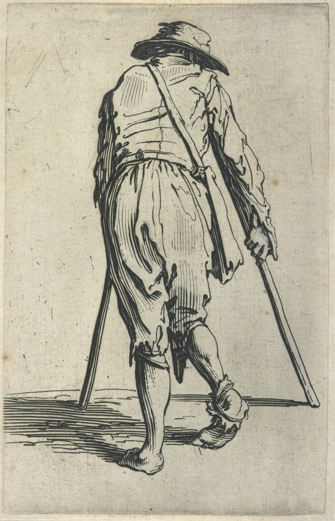 Beggar On Crutches, Wearing A Hat And Seen From Behind
