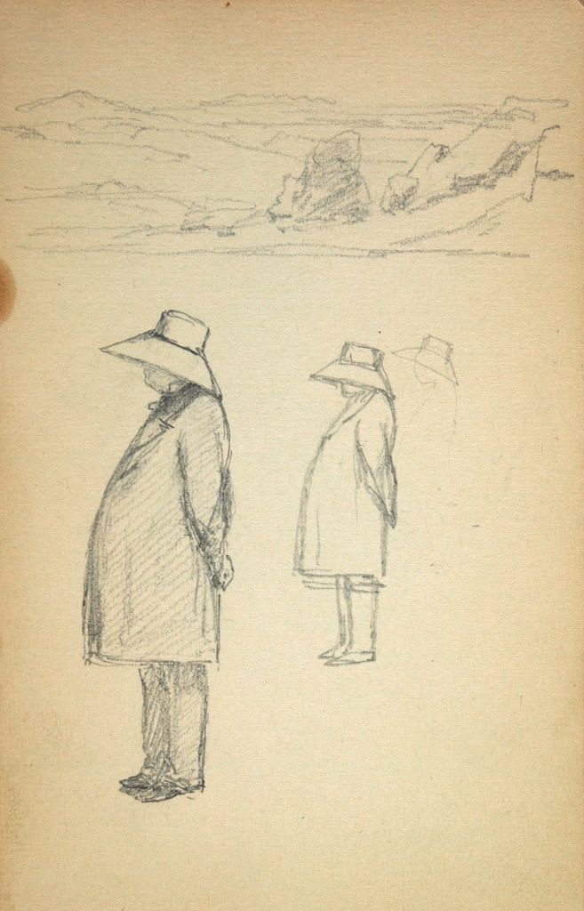 Blank Page; Verso: Small Landscape; Two Sketches Of A Figure In An Overcoat