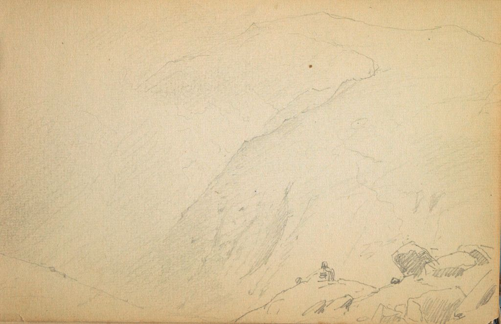 Partial Mountain Landscape; Verso: Old Man Of The Mountain