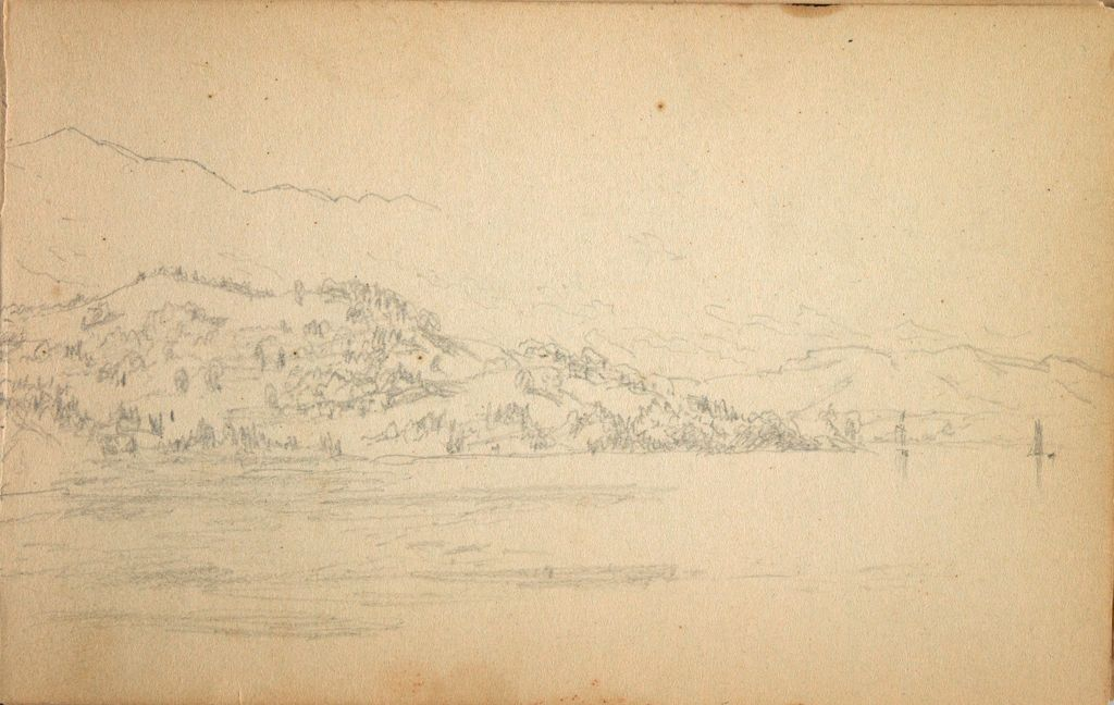 Compositional Studies Of South Bay And Mount Merino; Verso: Two Small Landscapes With Figures