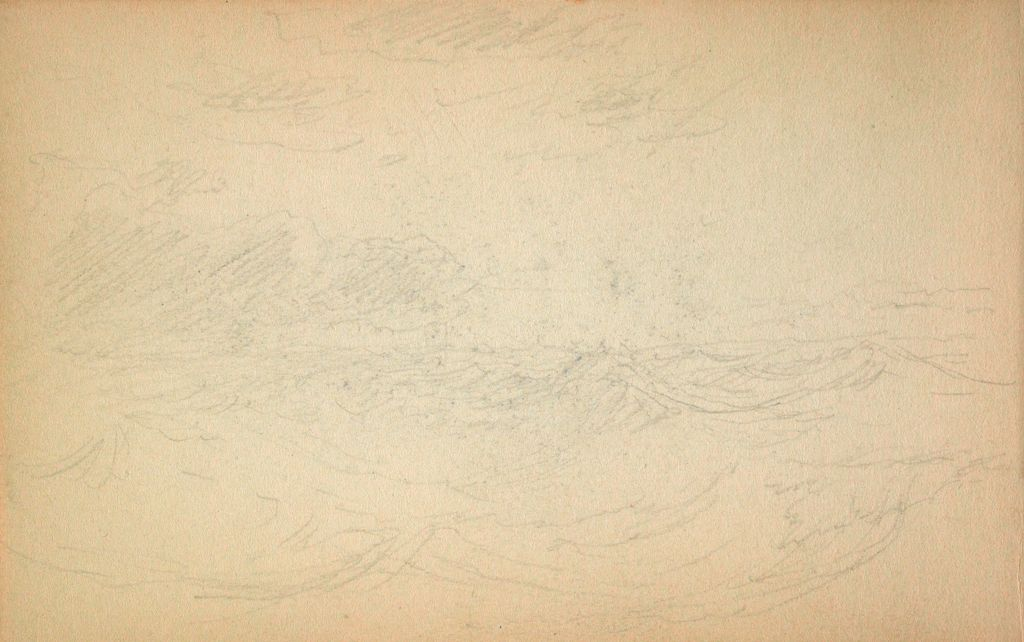 Sketchy Landscape; Verso: Two Sketches Of Men With Rowboats